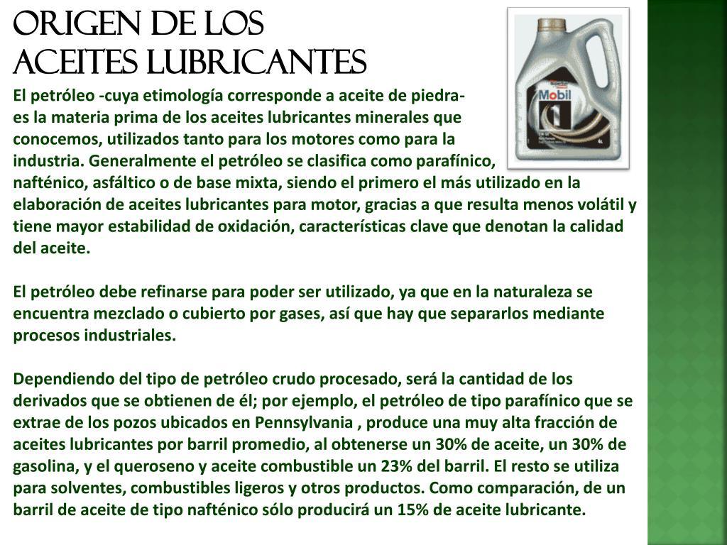 Origen de los lubricantes