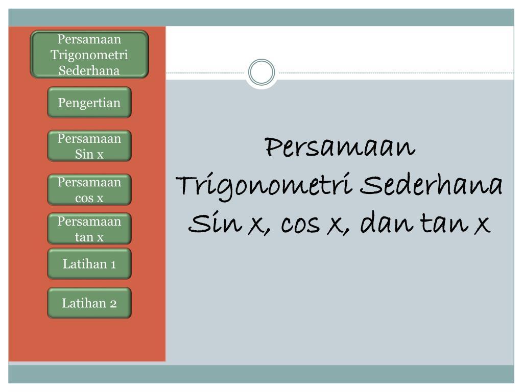 Ppt Persamaan Trigonometri Sederhana Sin X Cos X Dan Tan X Powerpoint Presentation Id 6285825