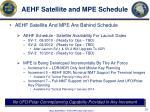 aehf satellite and mpe schedule