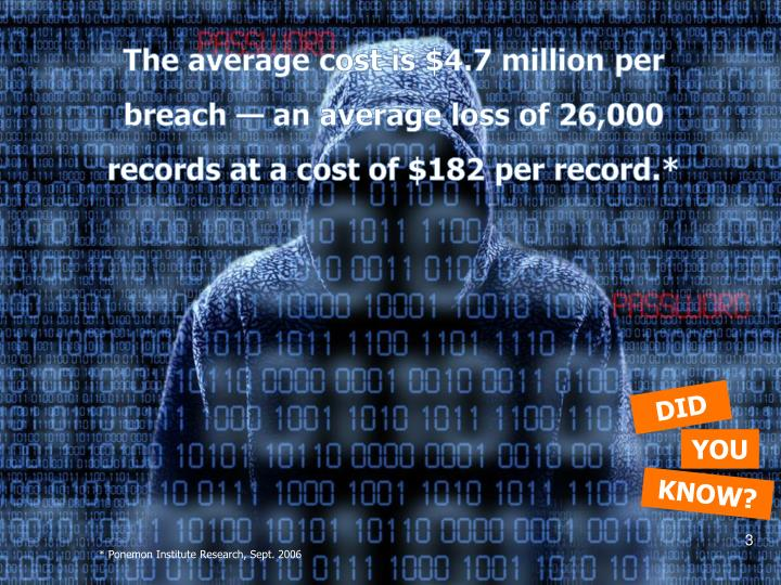 The average cost is $4.7 million per breach — an average loss of 26,000 records at a cost of $182 ...