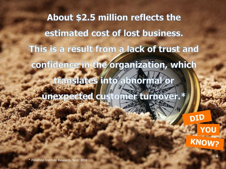 About $2.5 million reflects the estimated cost of lost business.