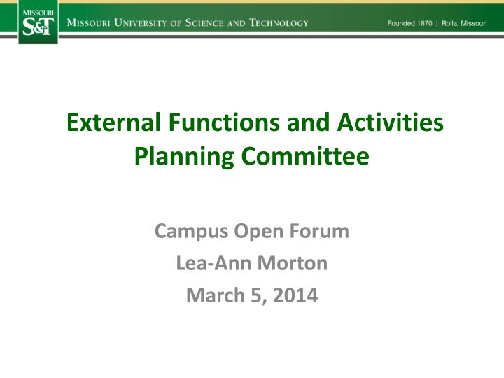 External Functions and Activities Planning Committee
