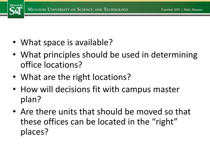 What space is available?