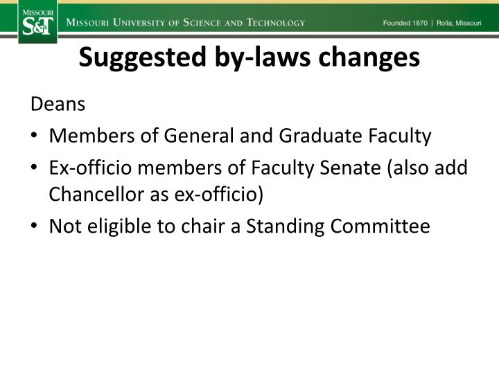 Suggested by-laws changes
