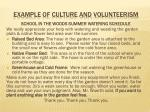 example of culture and volunteerism