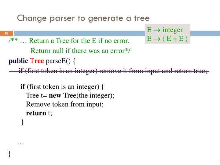 Change parser to generate a tree