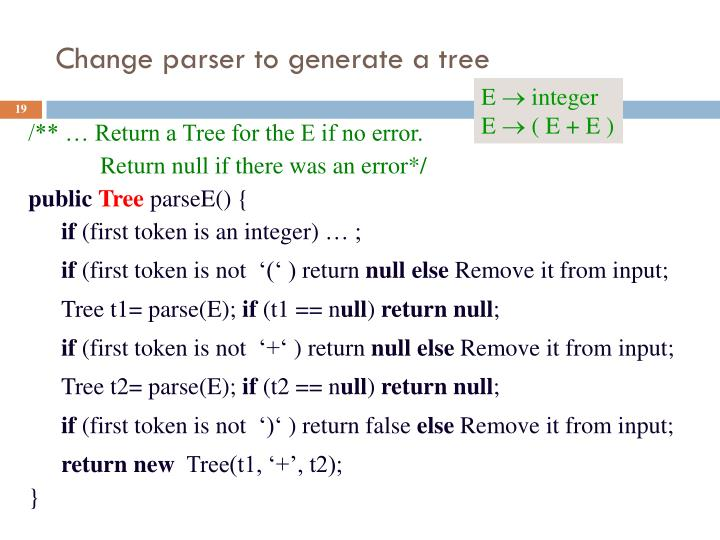 Change parser to generate a