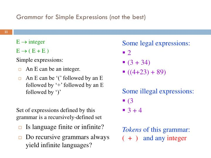 Grammar for Simple