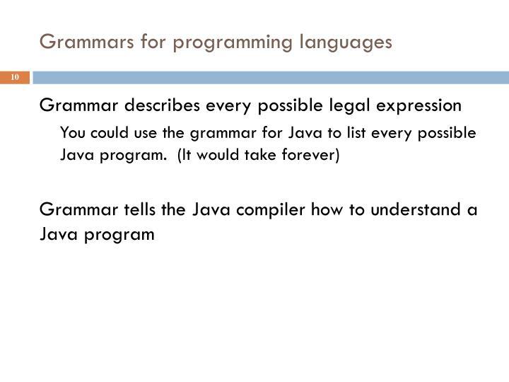 Grammars for programming languages