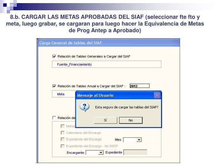 8.b. CARGAR LAS METAS APROBADAS DEL SIAF (