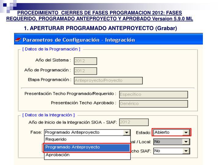 PROCEDIMIENTO  CIERRES DE FASES PROGRAMACION 2012: FASES REQUERIDO, PROGRAMADO ANTEPROYECTO Y