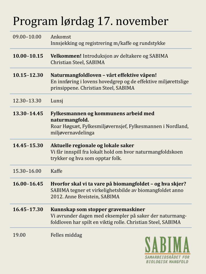 Program lørdag 17. november