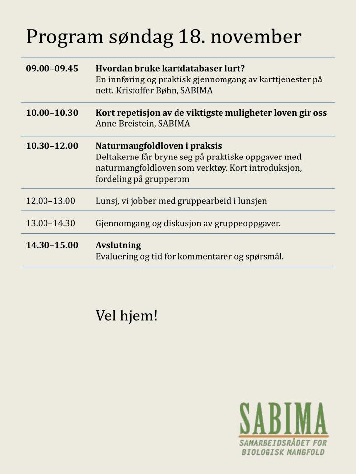 Program søndag 18. november
