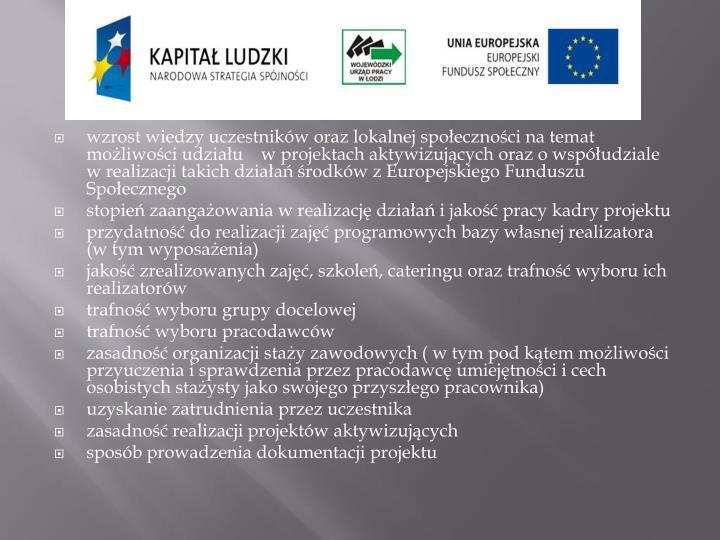wzrost wiedzy uczestników oraz lokalnej społeczności na temat możliwości udziału    w projektach aktywizujących oraz o współudziale w realizacji takich działań środków z Europejskiego Funduszu Społecznego