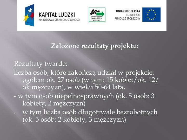 Założone rezultaty projektu: