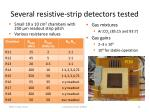 several resistive strip detectors tested