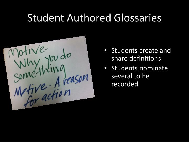Student Authored Glossaries