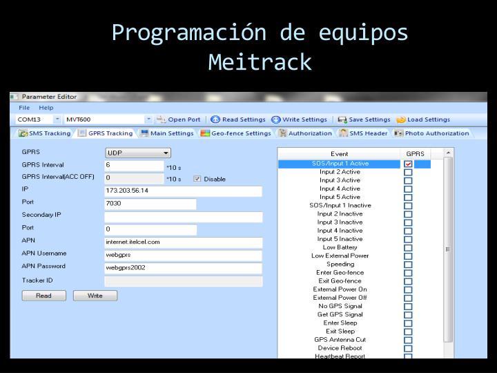 Programación de equipos Meitrack