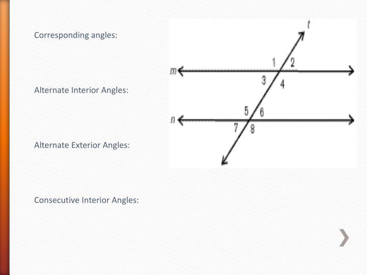 Corresponding angles: