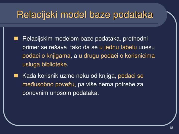 Relacijskim modelom baze podataka, prethodni