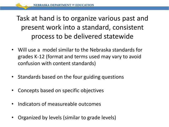 Task at hand is to organize various past and present work into a standard, consistent process to be delivered statewide