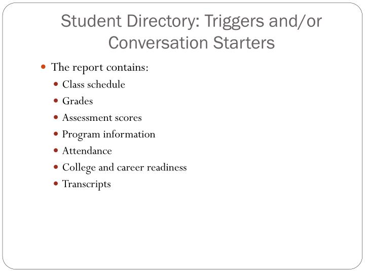 Student Directory: Triggers and/or Conversation Starters