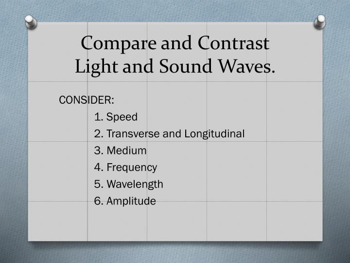 Compare and contrast light and sound waves