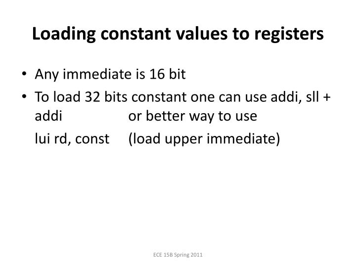 Loading constant values to registers
