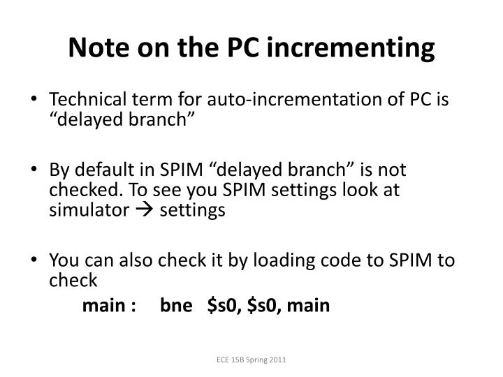 Note on the PC incrementing