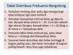 tabel distribusi frekuensi bergolong