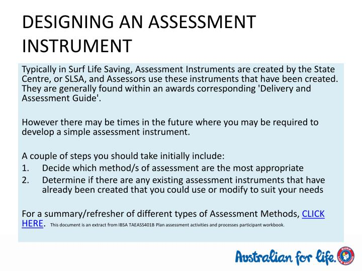 DESIGNING AN ASSESSMENT INSTRUMENT