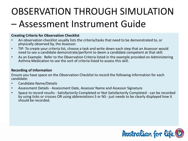 OBSERVATION THROUGH SIMULATION – Assessment Instrument Guide