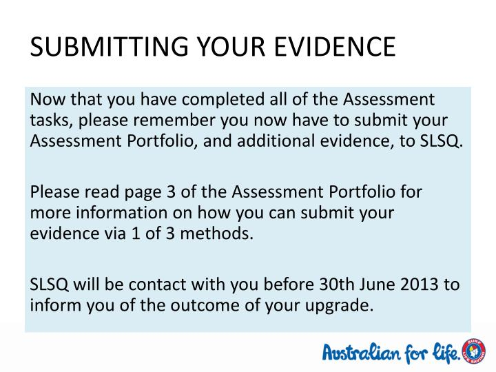 SUBMITTING YOUR EVIDENCE