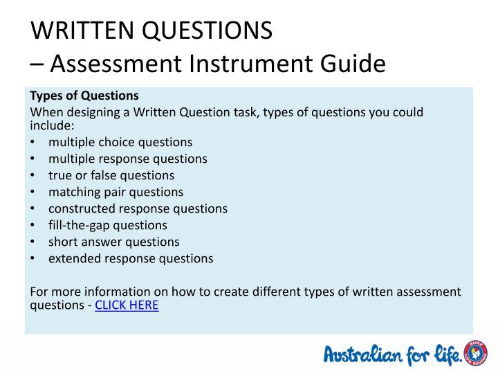 WRITTEN QUESTIONS