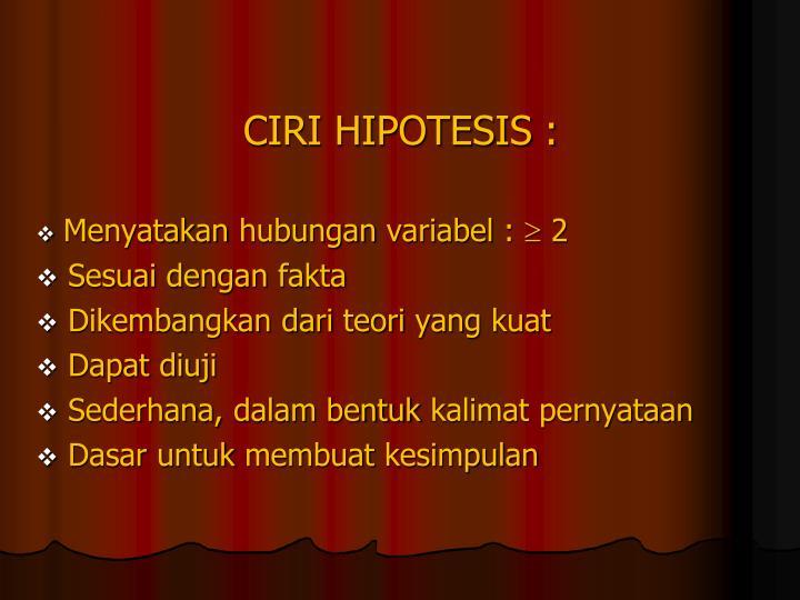 CIRI HIPOTESIS :