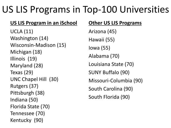 US LIS Programs in Top-100 Universities