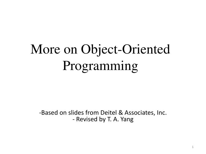 more on object oriented programming n.