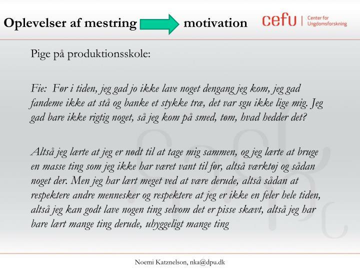 Oplevelser af mestring motivation