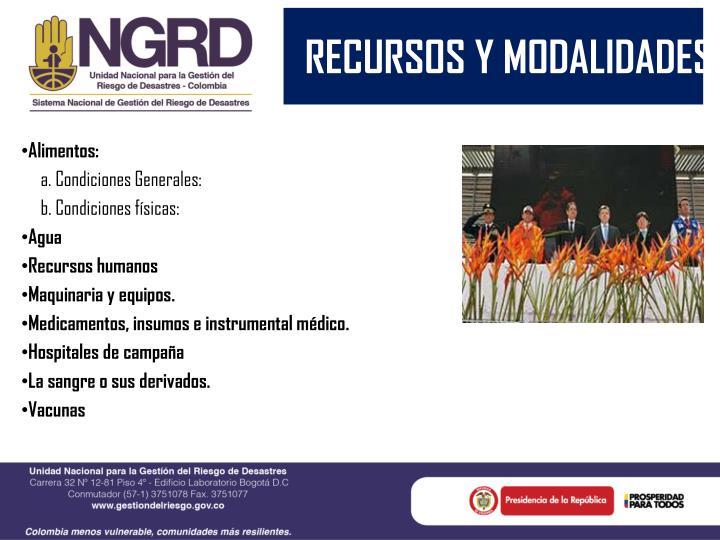 RECURSOS Y MODALIDADES
