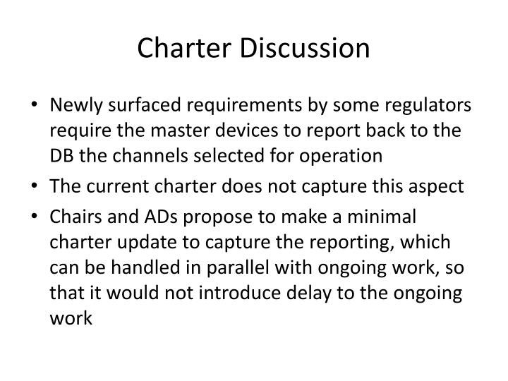 Charter Discussion