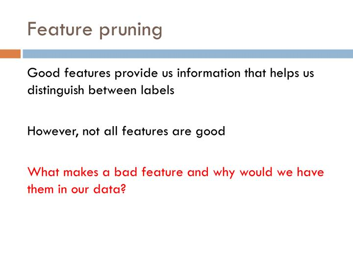 Feature pruning