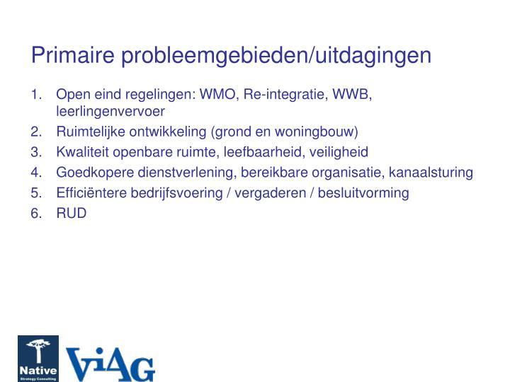 Primaire probleemgebieden/uitdagingen