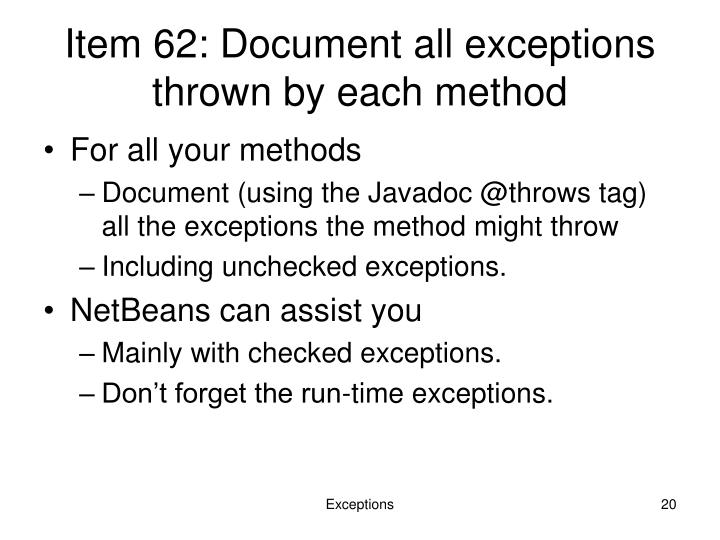 Item 62: Document all exceptions thrown by each method