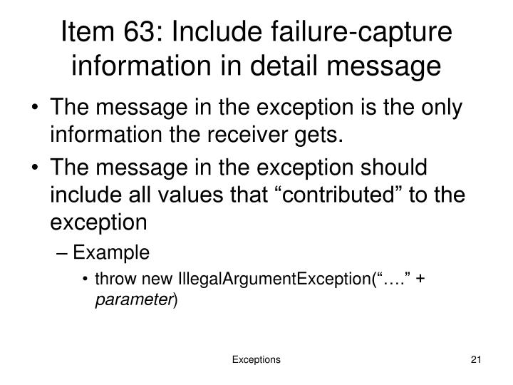 Item 63: Include failure-capture information in detail message