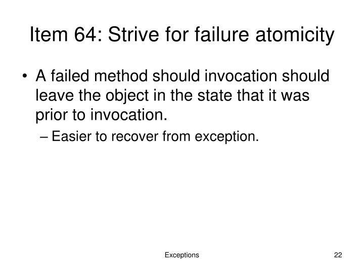 Item 64: Strive for failure atomicity