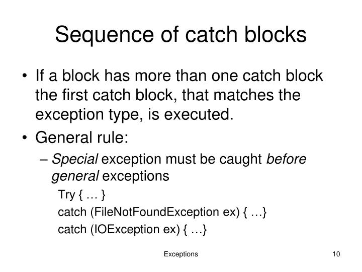 Sequence of catch blocks