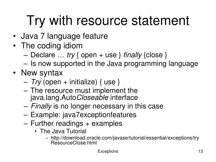 Try with resource statement