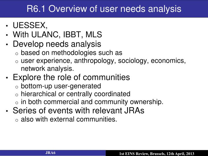 R6.1 Overview of user needs analysis
