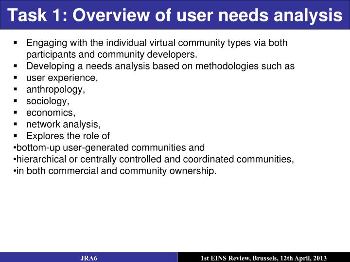 Task 1: Overview of user needs