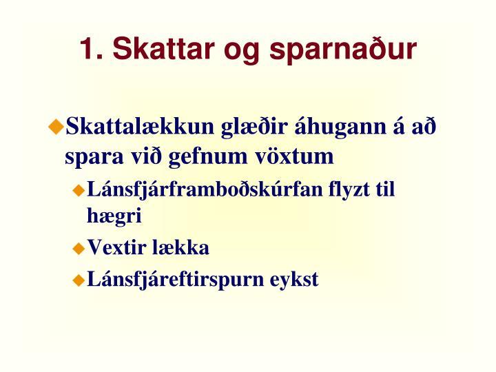 1. Skattar og sparnaður